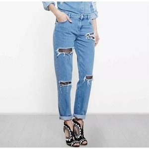 House of Holland Distressed Lace Boyfriend Jeans